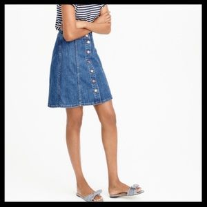 J. Crew Button-Front Denim Mini Skirt